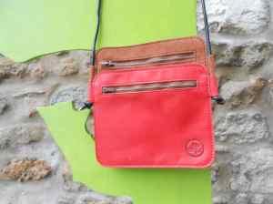 sac jumeau rouge et marron